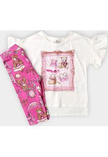 Conjunto Infantil Up Baby Estampa Urso Feminino - Feminino