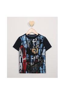 Camiseta Infantil Botonê Capitão América Manga Curta Azul Marinho