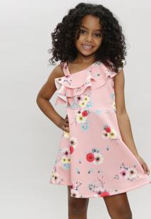 0256773cf743b CEA. Vestido Infantil Um Ombro Só Estampado Floral Com Babado Coral
