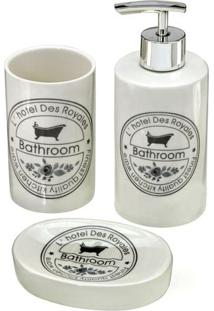 Jogo Para Banheiro Bathroom- Branco & Preto- 3Pçs