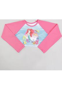 Blusa De Praia Infantil Pequena Sereia Ariel Cropped Raglan Manga Longa Com  Proteção Uv50+ Pink 040b7311b8c