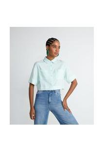 Camisa Cropped Em Viscolinho Com Manga Curta E Bolsos | Blue Steel | Verde | Gg