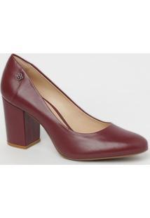 Sapato Em Couro- Bordô- Salto: 6,5Cmcapodarte