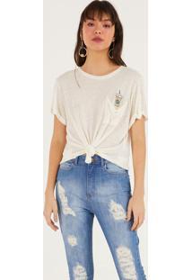 Camiseta Com Linho & Bolso - Off White & Verdepop Up