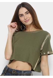 Camiseta Lança Perfume Cropped Estonada Feminina - Feminino-Verde