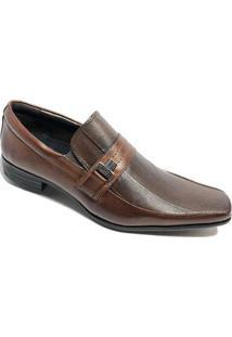 Sapato Social Calvest Em Couro Com Textura Masculino - Marrom - 41 - Masculino-Marrom