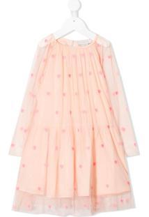 Stella Mccartney Kids Vestido Com Tule E Bordado De Coração Rosa