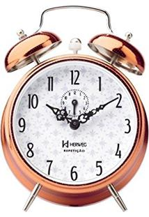6c0fa1cba2f Relógio Despertador Analógico Decorativo Mecânico Iluminação Noturna  Fluorescente Herweg Cobre