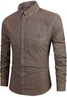 Camisa Masculina Slim Listrada Com Bolso Frontal Manga Longa - Marrom Xg