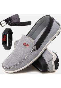 Kit Mocassim Masculino Drive Conforto Jeans Relógio E Cinto De Couro Duvelmon Cinza