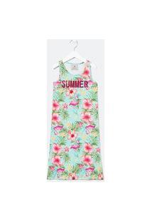 Vestido Infantil Estampa Tropical - Tam 5 A 14 Anos | Fuzarka (5 A 14 Anos) | Verde | 5-6