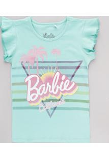 Blusa Infantil Barbie California Com Glitter Babado Na Manga Verde Água