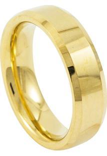 Aliança De Tungstênio New Tungsten Chanfrada Dourada