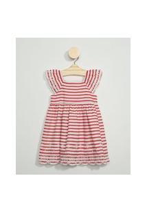 Vestido Infantil Listrado Manga Curta Com Bordado Vermelho