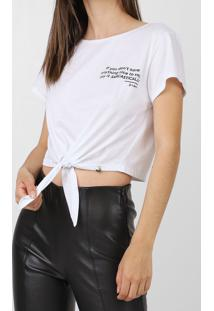 Camiseta Cropped Dimy Lettering Branca - Kanui