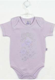 Body Bebê Feminino Manga Curta Flores Lilás - Feminino-Lilás