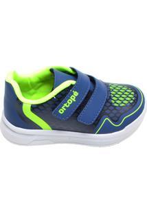 Tênis Com Velcro Azul Ortopé