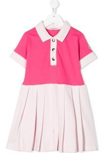 Moncler Kids Vestido Polo Color Block - Rosa