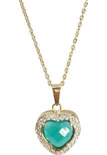 Corrente Kumbayá Com Pingente Coração E Corrente Cartier Banho De Ouro 18K Cristal Verde Facetado E Zircônias