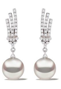 Yoko London Par De Brincos De Ouro Branco 18K Com Pérola E Diamante - 7