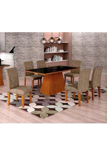 Conjunto De Mesa De Jantar Luna Com Vidro E 6 Cadeiras Ane Suede Animalle Imbuia E Preto