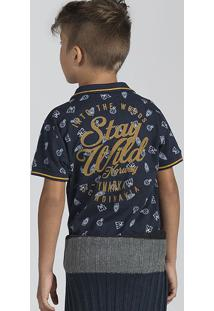 Camisa Polo Infantil Menino Com Retilínea Decorada E Estampa Puc       24923d2aaad2a