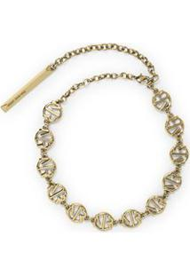 Colar Chocker Metal Mr Branco/Dourado - P