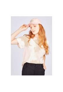 Camiseta Tie Dye Rosa E Caqui Gang Feminina