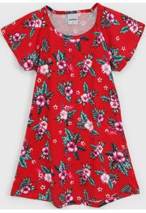 Vestido Rovitex Infantil Floral Vermelho