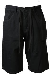 Bermuda Sarja Rasgada E Cordão Fashion Preta Masculino