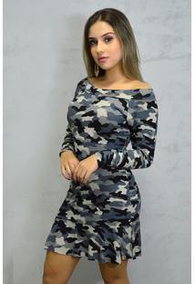 Vestido Curto Manga Longa Estampa Militar
