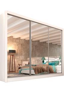 Guarda-Roupa Casal Com Espelho Siena Top 3 Pt Branco