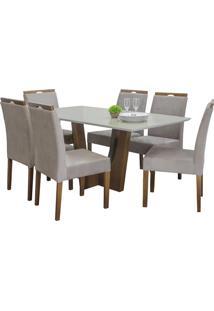 Conjunto Sala De Jantar Mesa + 6 Cadeiras Delazari, Imbuia - 191643