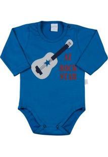 Body Bebê Malhão Az Rock Star - Masculino-Azul Turquesa
