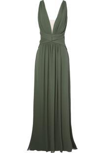 Vestido Longo Bobstore Seda Georgette - Verde