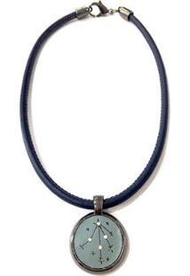 Colar Armazem Rr Bijoux Couro Estrela Com Cristais - Feminino-Azul Escuro