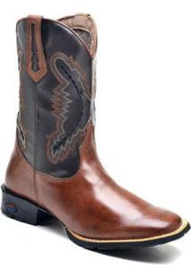 Bota Texana Ded Calçados Bico Quadrado Cano Longo Bordado Masculina - Masculino-Café