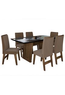 Conjunto De Mesa Para Sala De Jantar Com Tampo De Vidro E 6 Cadeiras Vigo -Dobuê Movelaria - Castanho / Preto / Castor Bord
