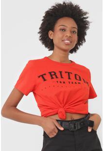 Camiseta Triton Lettering Laranja - Laranja - Feminino - Algodã£O - Dafiti