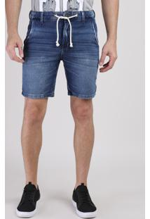 Bermuda Jeans De Moletom Masculina Slim Com Cordão Azul Médio