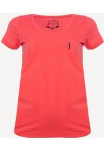 Camiseta Aleatory Gola V Lisa Feminina - Feminino-Coral