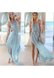 Vestido De Praia Longo Fendas