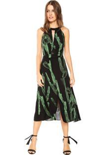Vestido Morena Rosa Midi Estampado Preta/Verde