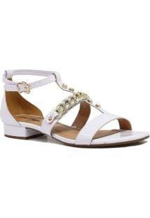 Sandália Zariff Shoes Rasteira Metais Fivela