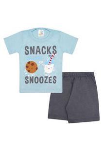 Pijama Bebê Masculino Camiseta Manga Curta Azul Biscoito E Shorts Grafite (1/2/3) - Jidi Kids - Tamanho 3 - Azul,Grafite