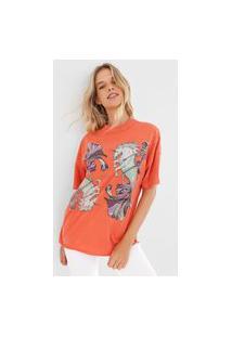 Camiseta Colcci Estampada Paint Splatter Laranja