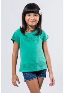 Camiseta Infantil Reserva Mini Barrado Carimbo Feminina - Feminino-Verde
