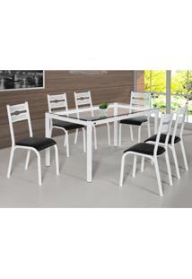 Conjunto De Mesa De Cozinha Com 6 Lugares Luna Corino Branco E Preto 80 Cm