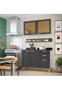 Cozinha Compacta Nevada Ii 4 Pt 3 Gv Grafite E Branca