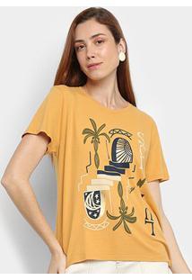 Camiseta Cantão Sol & Lua Manga Curta Feminina - Feminino-Amarelo